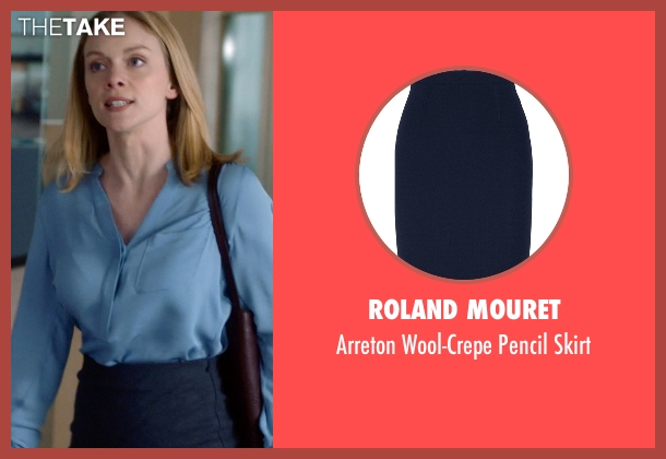 Roland Mouret blue skirt from Suits seen with Dr. Paula Agard (Christina Cole)