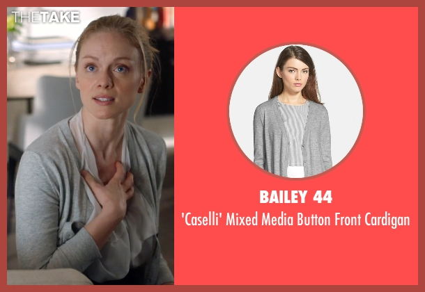 Bailey 44 gray cardigan from Suits seen with Dr. Paula Agard (Christina Cole)