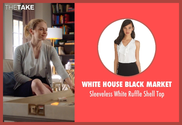 White House Black Market white top from Suits seen with Dr. Paula Agard (Christina Cole)