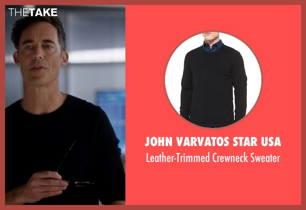 John Varvatos Star USA black sweater from The Flash seen with Dr. Wells (Tom Cavanagh)