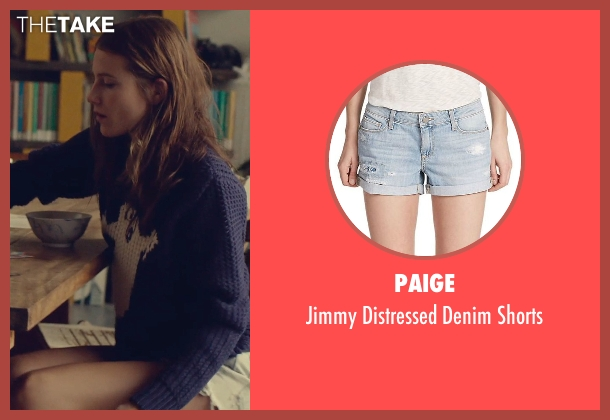 Paige blue shorts from While We're Young seen with Dree Hemingway (Tipper)