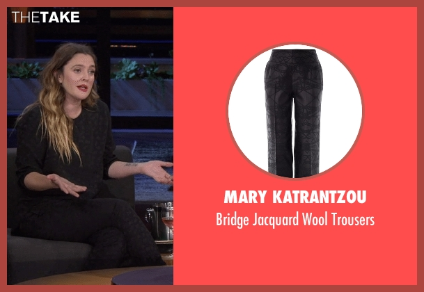 Mary Katrantzou black trousers from Chelsea seen with Drew Barrymore