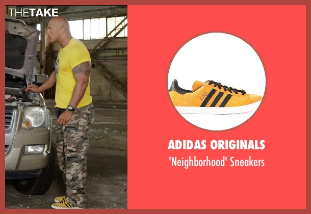 Adidas Originals yellow sneakers from Central Intelligence seen with Dwayne Johnson (Bob)