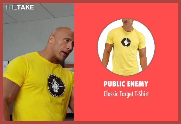 Public Enemy yellow t-shirt from Central Intelligence seen with Dwayne Johnson (Bob)