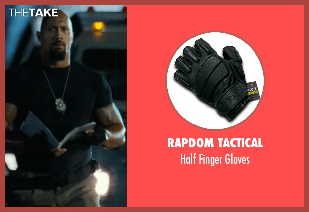 Rapdom Tactical black gloves from Fast Five seen with Dwayne Johnson (Luke Hobbs)