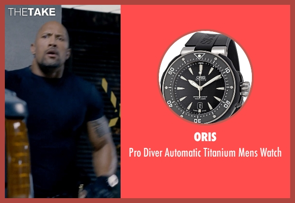 Oris black watch from Fast & Furious 6 seen with Dwayne Johnson (Luke Hobbs)