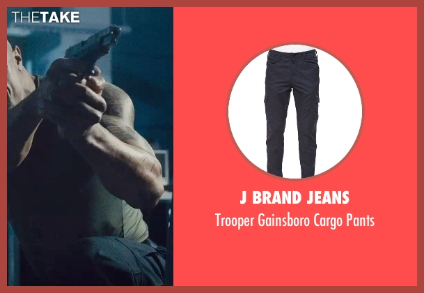 J Brand Jeans black pants from Furious 7 seen with Dwayne Johnson (Luke Hobbs)