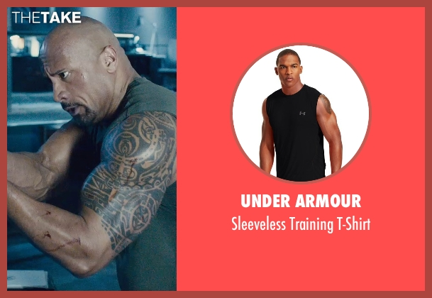 Under Armour black t-shirt from Furious 7 seen with Dwayne Johnson (Luke Hobbs)