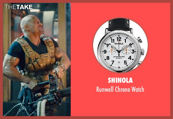 Shinola black watch from Furious 7 seen with Dwayne Johnson (Luke Hobbs)