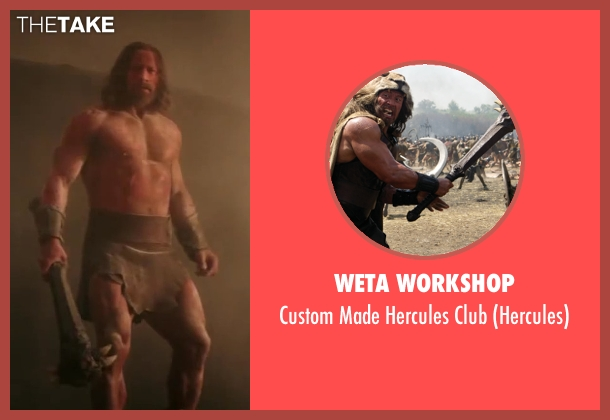 Weta Workshop club from Hercules seen with Dwayne Johnson (Hercules)