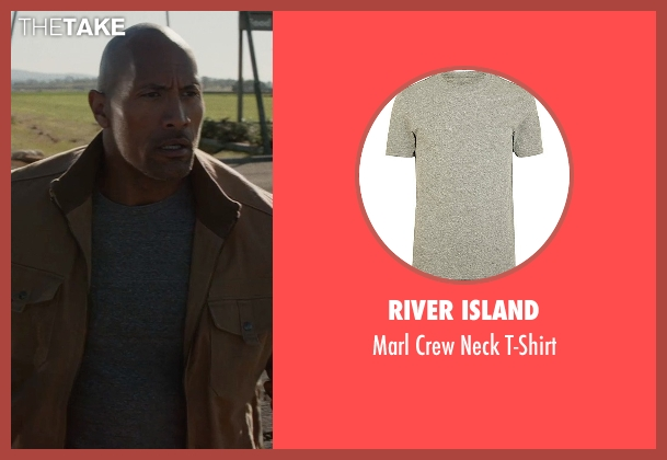 River Island gray t-shirt from San Andreas seen with Dwayne Johnson (Ray)