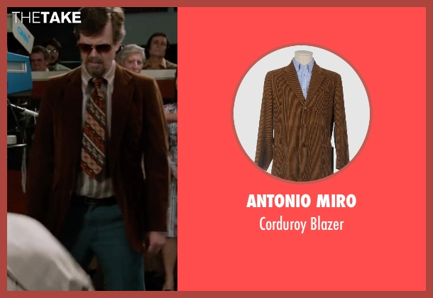 Antonio Miro brown blazer from Anchorman 2: The Legend Continues seen with Dylan Baker (Freddie Shapp)