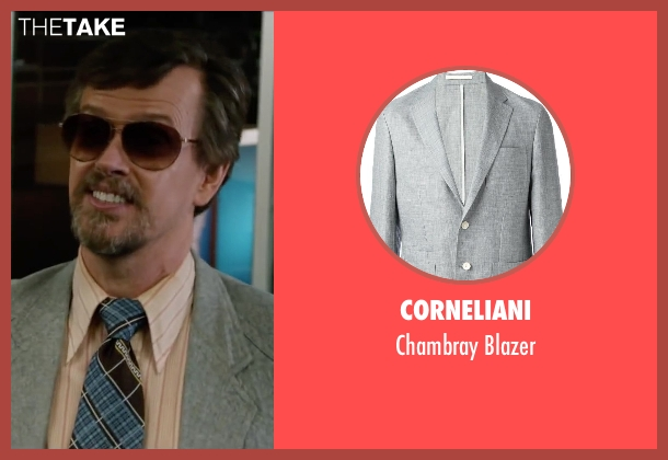 Corneliani gray blazer from Anchorman 2: The Legend Continues seen with Dylan Baker (Freddie Shapp)