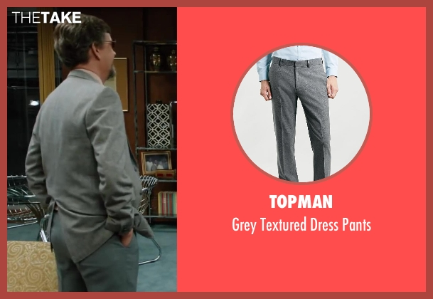 Topman gray pants from Anchorman 2: The Legend Continues seen with Dylan Baker (Freddie Shapp)