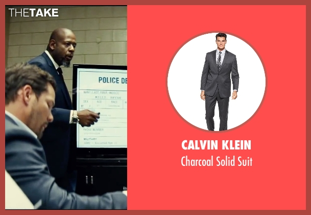 Calvin Klein gray suit from Taken 3 seen with Dylan Bruno (Smith)