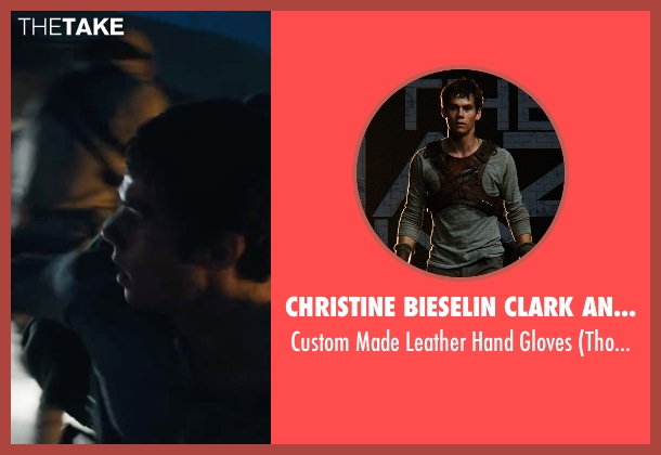 Christine Bieselin Clark and Simonetta Mariano (Costume Designers) brown gloves from Maze Runner: The Scorch Trials seen with Dylan O'Brien (Thomas)