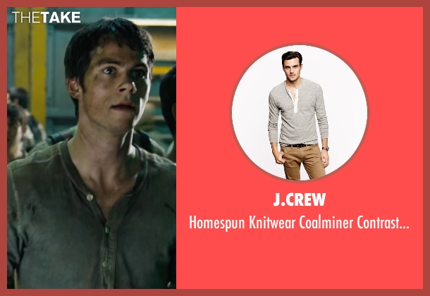 J.Crew gray henley from Maze Runner: The Scorch Trials seen with Dylan O'Brien (Thomas)