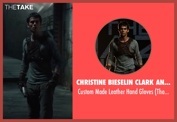 Christine Bieselin Clark and Simonetta Mariano (Costume Designers) brown gloves from The Maze Runner seen with Dylan O'Brien (Thomas)