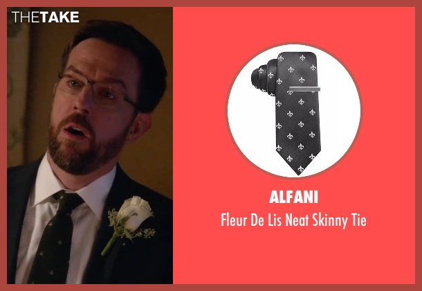 Alfani black tie from Bastards seen with Ed Helms (Peter Reynolds)