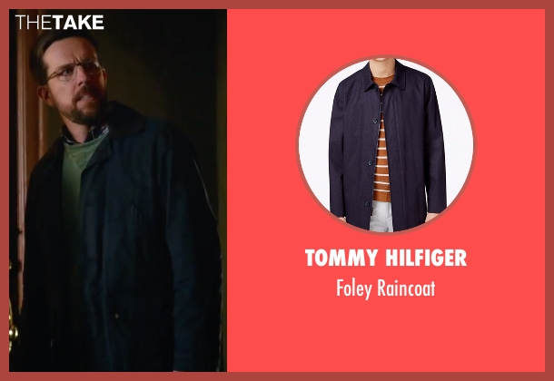 Tommy Hilfiger blue raincoat from Bastards seen with Ed Helms (Peter Reynolds)