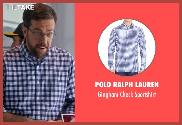 Polo Ralph Lauren blue sportshirt from Bastards seen with Ed Helms (Peter Reynolds)