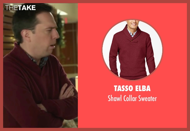 Tasso Elba red sweater from Love the Coopers seen with Ed Helms (Hank)