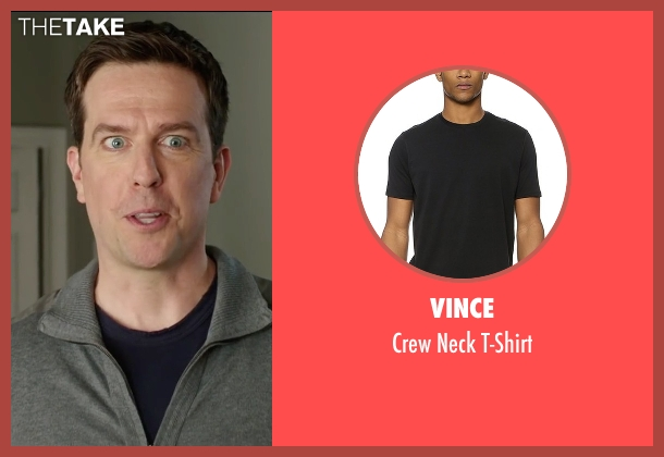 Vince black t-shirt from Vacation seen with Ed Helms (Rusty Griswold)