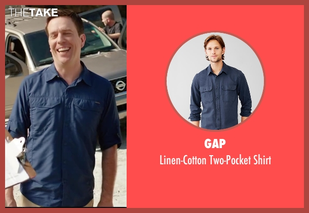 Gap blue shirt from Vacation seen with Ed Helms (Rusty Griswold)