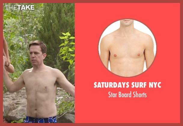 Saturdays Surf NYC blue shorts from Vacation seen with Ed Helms (Rusty Griswold)