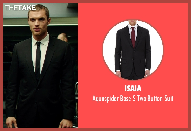 Isaia black suit from The Transporter: Refueled seen with Ed Skrein (Frank Martin)