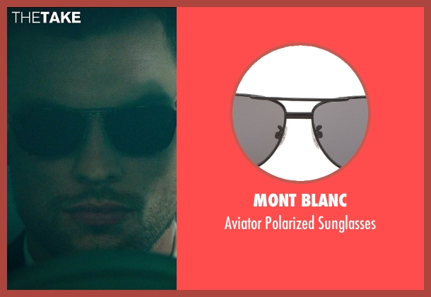 Mont Blanc black sunglasses from The Transporter: Refueled seen with Ed Skrein (Frank Martin)