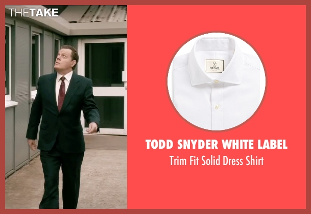 Todd Snyder White Label white shirt from Absolutely Anything seen with Eddie Izzard (Headmaster)
