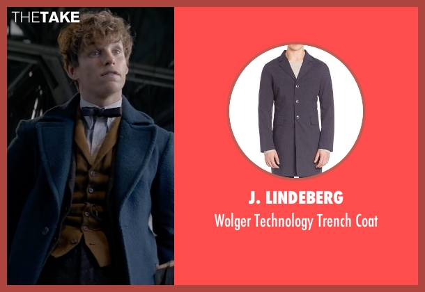 J. Lindeberg blue coat from Fantastic Beasts and Where to Find Them seen with Eddie Redmayne (Newt Scamander)