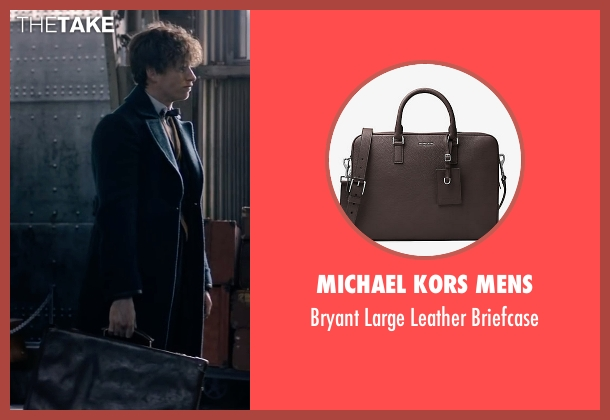 Michael Kors Mens brown briefcase from Fantastic Beasts and Where to Find Them seen with Eddie Redmayne (Newt Scamander)