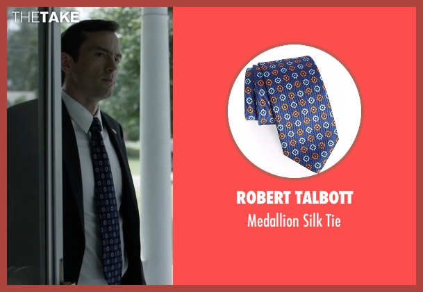 Robert Talbott blue tie from House of Cards seen with Edward Meechum (Nathan Darrow)