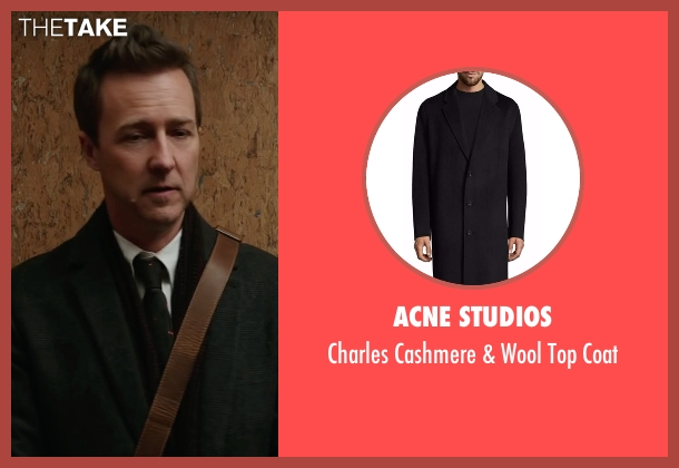 Acne Studios black coat from Collateral Beauty seen with Edward Norton (Whit Yardsham)