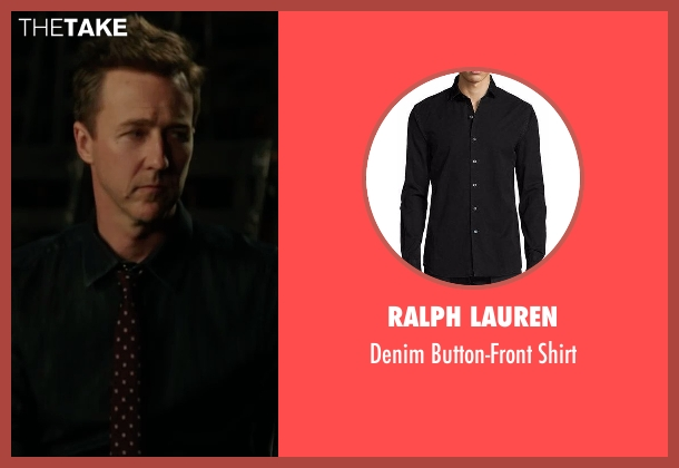 Ralph Lauren black shirt from Collateral Beauty seen with Edward Norton (Whit Yardsham)