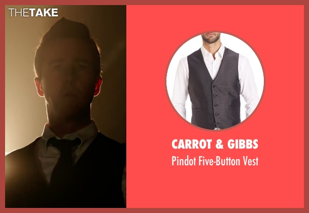 Carrot & Gibbs  black vest from Collateral Beauty seen with Edward Norton (Whit Yardsham)
