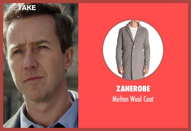 Zanerobe gray coat from Collateral Beauty seen with Edward Norton (Whit Yardsham)