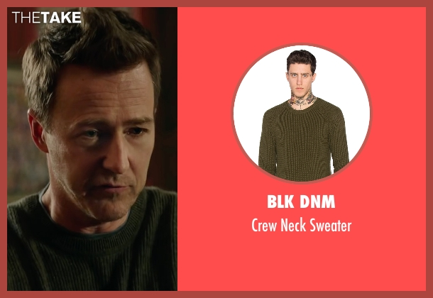 Blk Dnm gray sweater from Collateral Beauty seen with Edward Norton (Whit Yardsham)