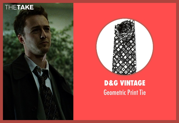 D&G Vintage black tie from Fight Club seen with Edward Norton (The Narrator)