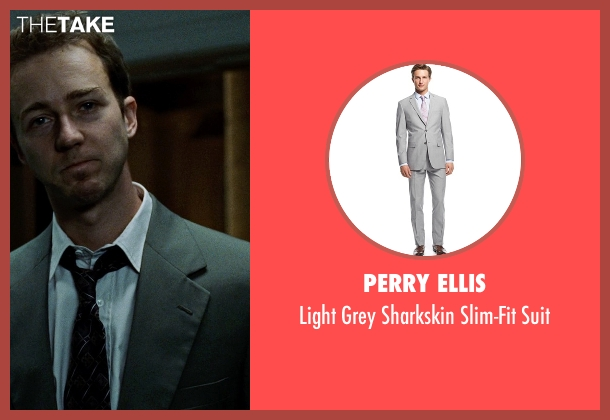 Perry Ellis gray suit from Fight Club seen with Edward Norton (The Narrator)