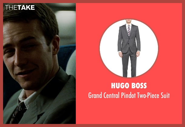 Hugo Boss gray suit from Fight Club seen with Edward Norton (The Narrator)