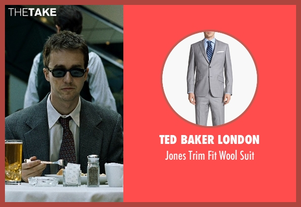 Ted Baker London gray suit from Fight Club seen with Edward Norton (The Narrator)