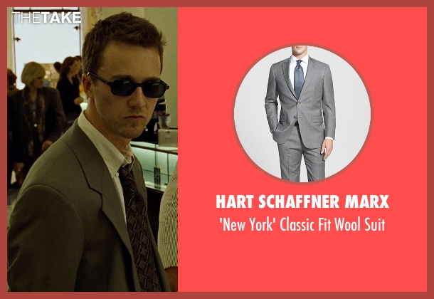 Hart Schaffner Marx gray suit from Fight Club seen with Edward Norton (The Narrator)