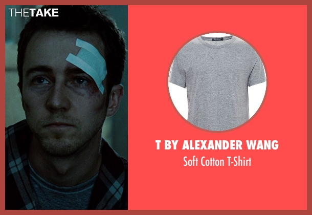 T by Alexander Wang gray t-shirt from Fight Club seen with Edward Norton (The Narrator)
