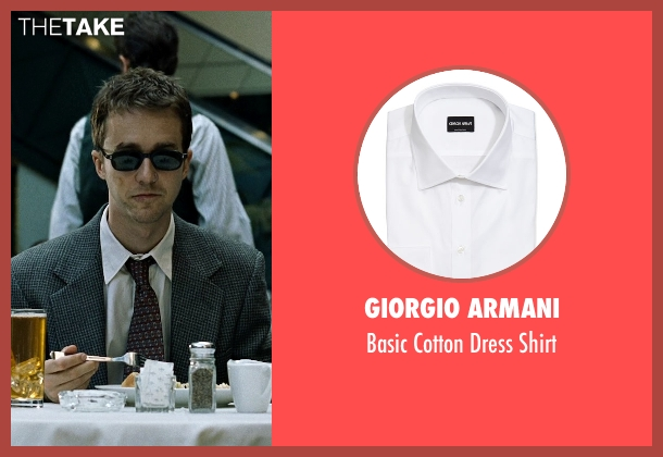 Giorgio Armani white shirt from Fight Club seen with Edward Norton (The Narrator)