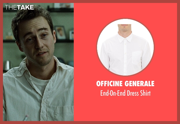 Officine Generale white shirt from Fight Club seen with Edward Norton (The Narrator)