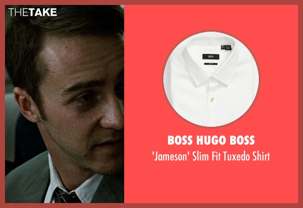 Boss Hugo Boss white shirt from Fight Club seen with Edward Norton (The Narrator)