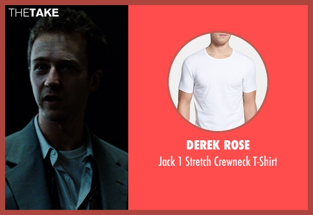Derek Rose white t-shirt from Fight Club seen with Edward Norton (The Narrator)